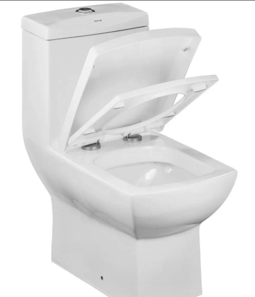 Um vaso sanitário branco